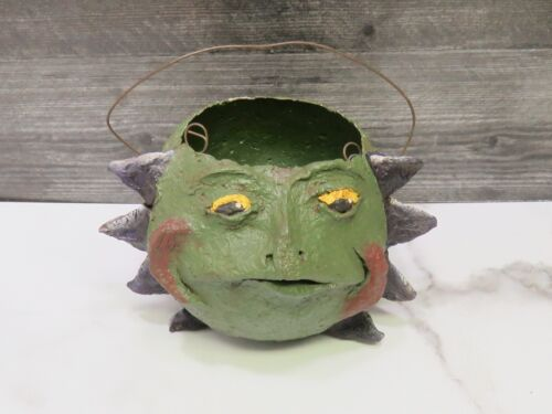 Antique Paper Mache Halloween Trick or Treat Candy Bucket Basket Goblin Monster