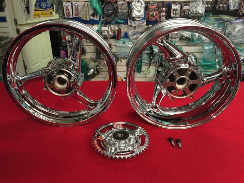 2008-2012 Hayabusa Chrome Oem Factory Wheels With Cush Drive & Sprocket