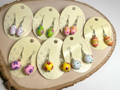 Spring Earrings Easter Colorful Earrings Dots Squiggle Flower Lot of 7 Pairs