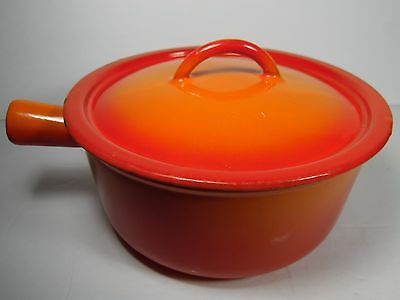 Vtg DESCOWARE FE BELGIUM Flame Red Orange ENAMEL Cast Iron POT PAN LID 80 C 18 H