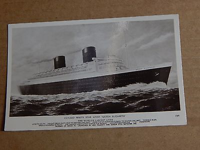 Postcard shipping Cunard White Star Liner Queen Elizabeth  RPPC .unposted