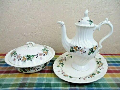 Myott Staffordshire Olde Chelsea Hedgerow Teapot, Platter & Covered Serving Dish