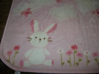 30x45 Vintage CARTER'S Bunny Rabbit Boa Minky Plush Crib Baby Blanket Lovey, used for sale  Cambridge