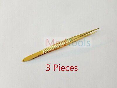 3 Stainless Steel Splinter Forceps Tweezers Fine Point 4.5 Surgical Instruments
