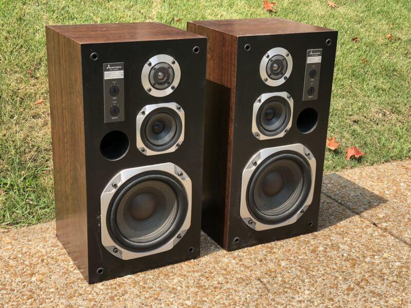 Vintage Mitsubishi / DIATONE DS-32B MKII Monitor MIRRORED Speakers AUDIOPHILE