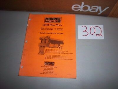 2003 Monroe Salter Salt Spreader Service And Illustrated Parts Manual 10 And 13