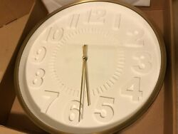 Project 62, Raised Number 16 Wall Clock, UPC 792684973151, Color Brass, NEW