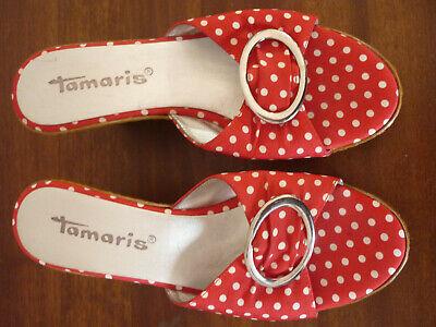 TAMARIS Keilabsatz high heels ROCKABILLY Sandaletten rot Dots Dot Keil