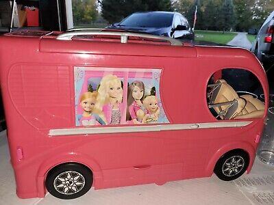 Barbie Pop Up Motor Home Pink Dream Camper Van Playset w/a pool