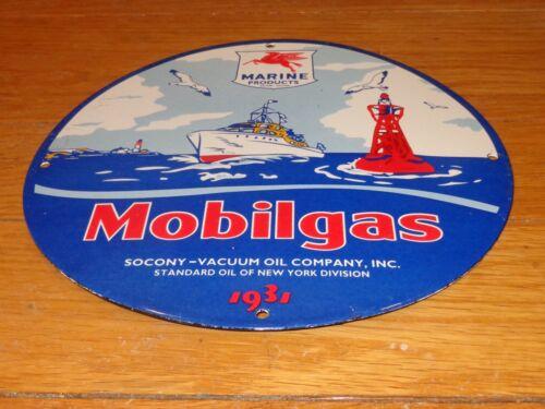 "VINTAGE 1931 MOBIL MOBILGAS MARINE GASOLINE PEGASUS 11 3/4"" PORCELAIN METAL SIGN"