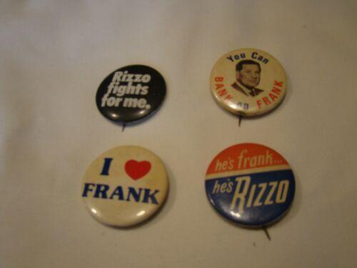 Lot of 4 Frank Rizzo Mayor Philadelphia Campaign Buttons Vtg Political Pin Backs