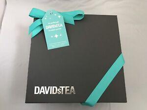 David's Tea glass mug with tea leaves gift box set