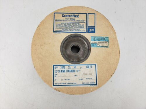 Vintage ScotchFlex 3476 Flat Cable Spool 50 Conductors 28AWG