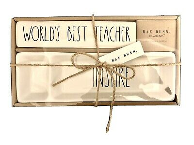 Rae Dunn Best Teacher Desk Plaque And Desk Tray Set