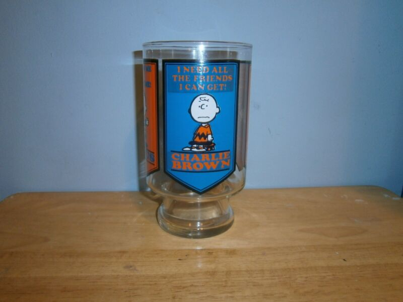 "Vintage Peanuts Large Glass Snoopy Linus Lucy Charlie Brown 1958 ""Rare"""
