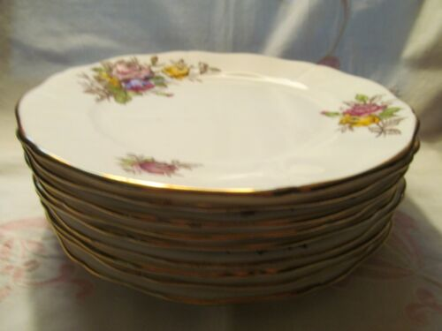 Adderley Fine Bone China, England, Red/Pink/Yellow Roses Salad Plates -VGC
