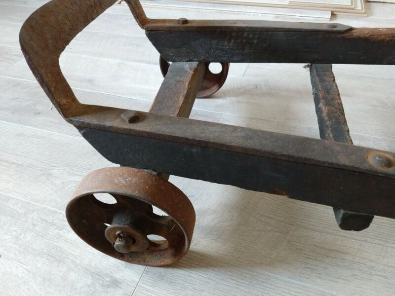 VINTAGE ANTIQUE HAND TRUCK Dolly - WOOD AND IRON DOLLY FULLY FUNCTIONAL