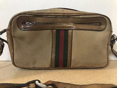 GUCCI GG LOGO CROSSBODY SHOULDER BAG, VINTAGE 1970'S, TAN GREEN RED STRIPED