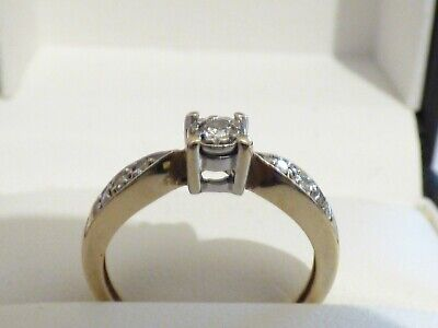 9ct yellow gold engagement ring solitaire with diamond set shoulders Sz N