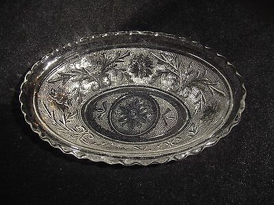 "Depression glass oval serving dish Sandwich clear 8 1/2"" (lot #2)"