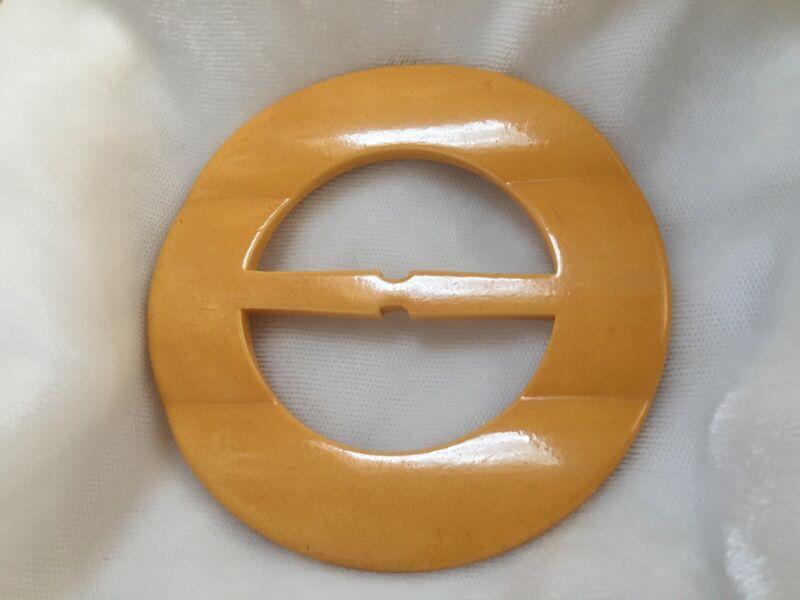 Vintage Bakelite Butterscotch Wavy Carved Sash Buckle Tested