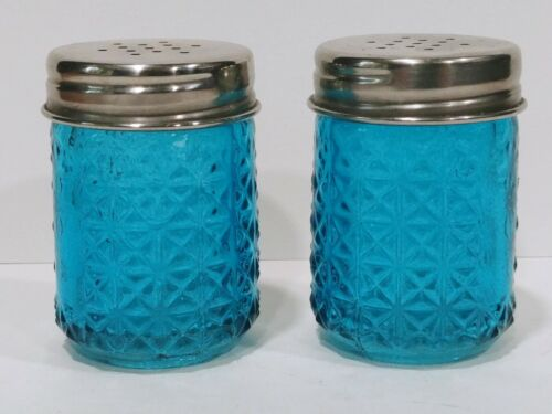 Vintage Teal Glass Salt And Pepper Shakers With Diamond Pattern