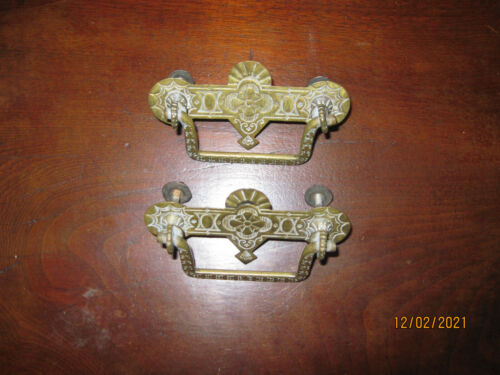 Pair Antique Victorian Eastlake brass drawer pull handles