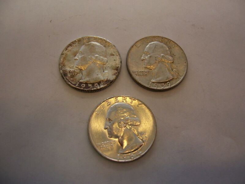 LOT OF 3 ASSORTED DATE WASHINGTON QUARTERS (NICE)