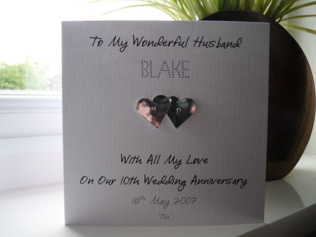 Handmade Personalised Tin 10th Wedding Anniversary Card Husband Wife
