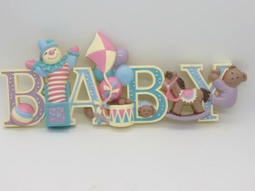 "VTG Home Interior Baby Nursery Wall Decor Pastel Blue Pink Bear Drum Horse 16"""