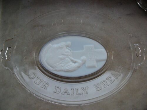1875 Glass Bread Plate GIVE US THIS DAY OUR DAILY BREAD Milkglass ROCK OF AGES