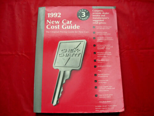 RARE 1992 DEALER NEW CAR COST GUIDE 470 PAGES!!
