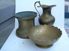 3 PIECES OF BRASSWARE-JUG-VASE-BOWL Sapphire Beach Coffs Harbour City Preview