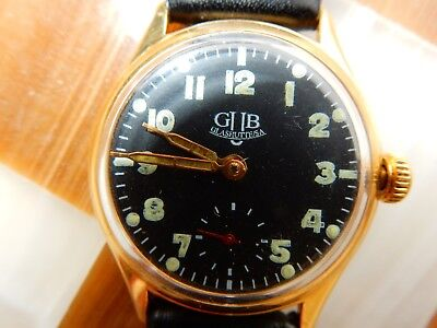 GLASHUTTE VINTAGE MILITARY GRADE GOLD PLATE 34mm HIGH GRADE GUB 180449 Cal WATCH