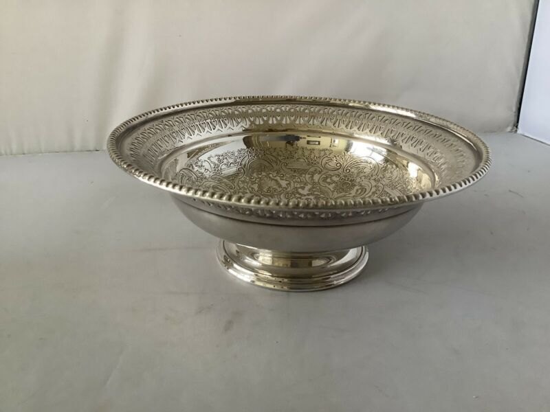 Silver Plate Pierced Bowl By Barker Ellis, Superb Condition, 6.5 Inches Dia