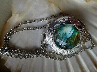 Foto Libelle Silber Glas Ornamente Halskette zum öffnen (Libelle, Ornamente)