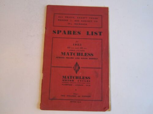 1953 AMC MATCHLESS MOTOR CYCLES SPRING FRAME & RIGID MODELS MANUAL - BN-12