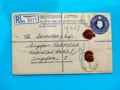 Malaysia & Singapore Registered Letter 1959 Singapore via Turfclub Singapore