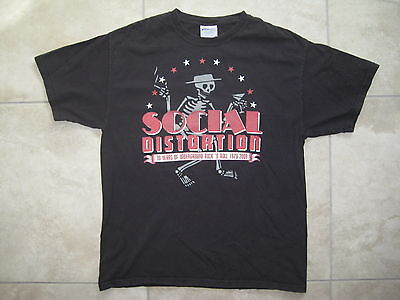 Vintage 30 Years of SOCIAL DISTORTION Concert Tour Black T Shirt LARGE USED