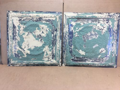 """2 pc Lot 18"""" by 18"""" Antique Ceiling Tin Metal Reclaimed Salvage Art Craft"""