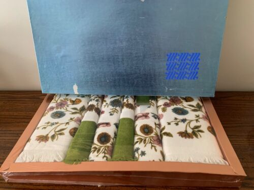 VINTAGE MARTEX BATHROOM TOWEL SET 10 PC COTTON 1960s NEW SEALED BOX USA EARTH