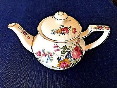 Vintage Sadler Teapot Olde Chintz Pink Roses Gold Trim England Porcelain