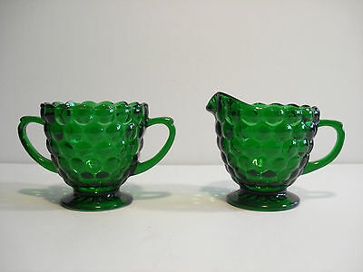 Anchor Hocking Depression Bubble Glass, Forest Green, sugar & creamer set