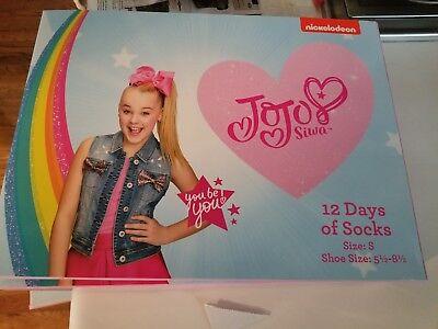 JoJo Siwa 12 Days Of Socks of CHRISTMAS Advent Box - S Girls NICKELODEON