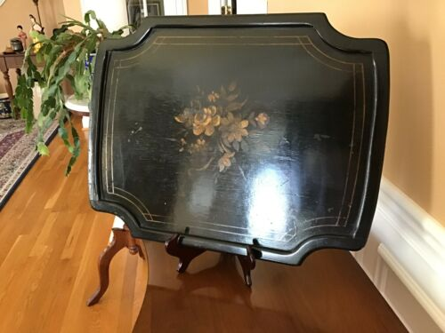 Antique Victorian Black & Gold Tole Wood Hand Painted Serving Tray LARGE