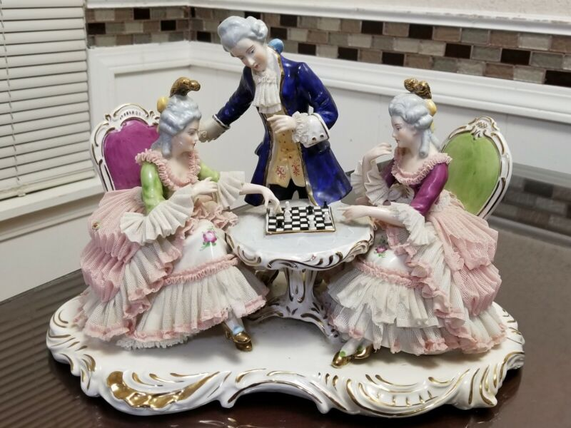Dresden Lace Porcelain Group of Man & Two Ladies Playing Chess.