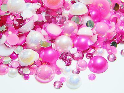 2000 Hot Pink White AB Flatback Resin Rhinestones Faux Pearls 3/4/5/6/8/10mm