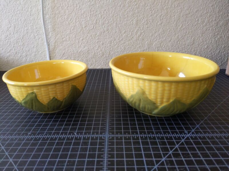Vintage Shawnee Corn  Mixing Bowls (2) #6+#8 and Creamer Pitcher #70