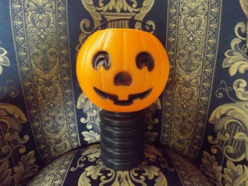 Vintage Halloween Blow Mold Jack O Lantern Light Pumpkin on base Rare!