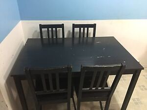 Dining table +4 chairs  wood